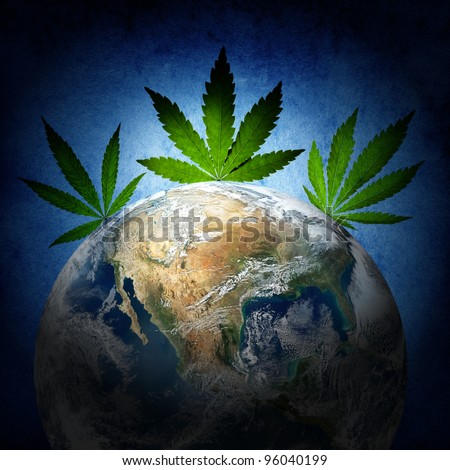 Cannabis has captured the world. (Earth image from www.nasa.gov) - stock photo