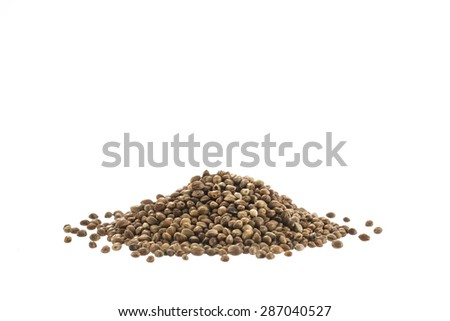 Cannabis Hemp seeds close up macro shot isolated on white background - stock photo