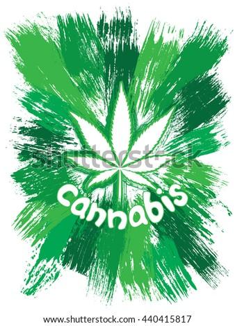 Cannabis leaf symbol design green brush texture background - stock photo