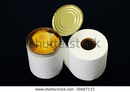 Canned apricot and toilet tissue - stock photo