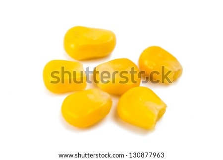 Canned Corn close-up on white background - stock photo