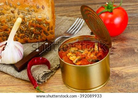 Canned Fish Sprat in Tomato Sauce Studio Photo - stock photo