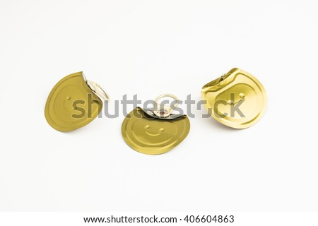 canned lids isolated on white background - stock photo