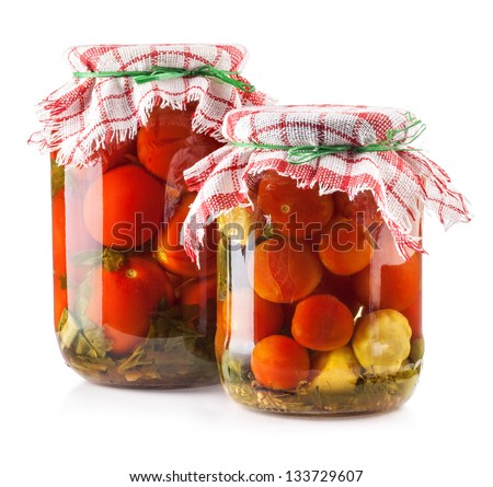 Canned Tomatoes in Glass Jar isolated on white background - stock photo