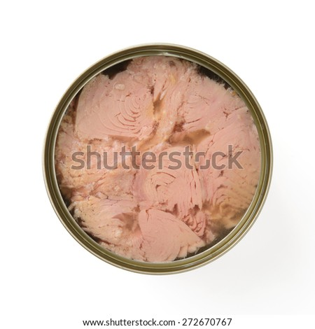 canned tuna isolated on white - stock photo
