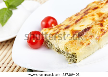 Cannelloni with spinach and ricotta baked in sauce bechamel - stock photo