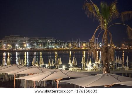 Cannes (Alpes-Maritimes, Provence-Alpes-Cote d'Azur, France): the coast at evening - stock photo