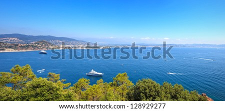 Cannes and La Napoule panoramic sea bay view, yachts and boats  from Theoule sur Mer. French Riviera, Azure Coast or Cote d Azur, Provence, France - stock photo