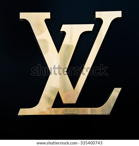 CANNES,FRANCE-AUGUST 01,2015: Louis Vuitton France Store Logo,present on the Côte d'Azur in Nice since 1908, Louis Vuitton opened his shop in Cannes in 1987. - stock photo