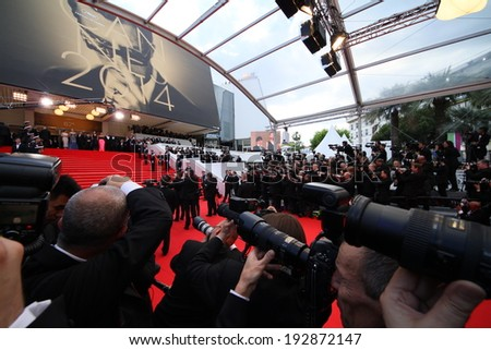 CANNES, FRANCE - MAY 14:  A general view of atmosphere the opening ceremony and 'Grace of Monaco' premiere at the 67th Annual Cannes Film Festival on May 14, 2014 in Cannes, France. - stock photo