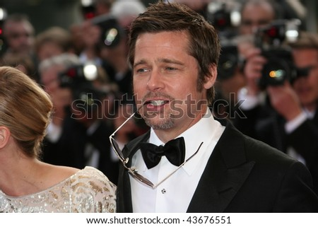 CANNES, FRANCE - MAY 20: Actor Brad Pitt attends the 'Inglourious Basterds' Premiere at the Grand Theatre Lumiere during the 62nd Annual Cannes Film Festival on May 20, 2009 in Cannes, France. - stock photo