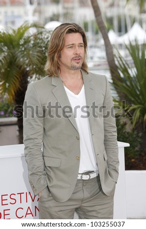CANNES, FRANCE - MAY 22: Actor Brad Pitt is at the 65th Annual Cannes Film Festival to promote the movie 'Killing Them Softly' on May 22, 2012 in Cannes, France - stock photo