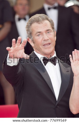 CANNES, FRANCE - MAY 17: Actor Mel Gibson attends 'The Beaver' premiere at the Palais des Festivals during the 64th Cannes Film Festival on May 17, 2011 in Cannes, France - stock photo