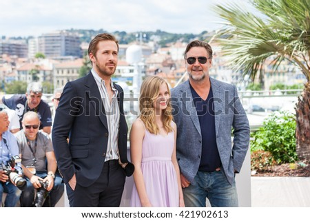 Cannes, France - 15 MAY 2016 - Actors Ryan Gosling, Angourie Rice and Russell Crowe attend 'The Nice Guys (The Nice Guys-LA Detectives)' - Photocall at the annual 69th Cannes Film Festival - stock photo