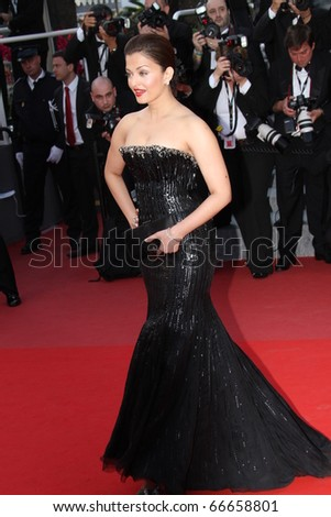 CANNES, FRANCE - MAY 13: Actress Aishwarya Rai Bachchan attends the Premiere of 'On Tour' at the Palais des Festivals during the 63 Cannes Film Festival on May 13, 2010 in Cannes, France. - stock photo
