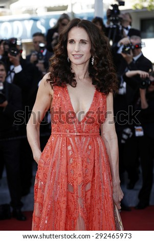 CANNES, FRANCE- MAY 18: Actress Andie MacDowell attends the Premiere of 'Inside Out' during the 68th Cannes Film Festival on May 18, 2015 in Cannes, France. - stock photo