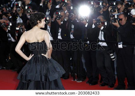 CANNES, FRANCE - MAY 25: Actress Audrey Tautou attends the Premiere of 'La Venus A La Fourrure' at The 66th Cannes Film Festival on May 25, 2013 in Cannes, France. - stock photo