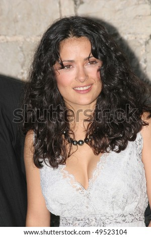 CANNES, FRANCE - MAY 19: Actress Salma Hayek arrives Party at the mayor  during the 58th International Cannes Film Festival May 19, 2005 in Cannes, France - stock photo