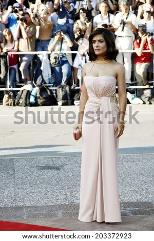 CANNES, FRANCE - MAY 23: Actress Salma Hayek attends the Palme d'Or Award Closing Ceremony during the 63rd Annual Cannes Film Festival on May 23, 2010 in Cannes, France. - stock photo