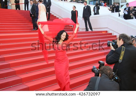CANNES, FRANCE - MAY 21: Actress Sonia Braga attends the 'Elle' Premiere during the 69th annual Cannes Film Festival at the Palais des Festivals on May 21, 2016 in Cannes, France. - stock photo