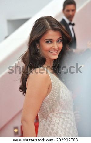 """CANNES, FRANCE - MAY 21, 2014: Aishwarya Rai at the gala premiere of """"The Search"""" at the 67th Festival de Cannes.  - stock photo"""
