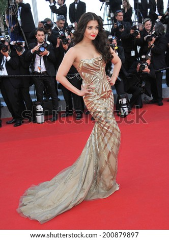"CANNES, FRANCE - MAY 20, 2014: Aishwarya Rai at the gala premiere of ""Two Days, One Night"" at the 67th Festival de Cannes.  - stock photo"