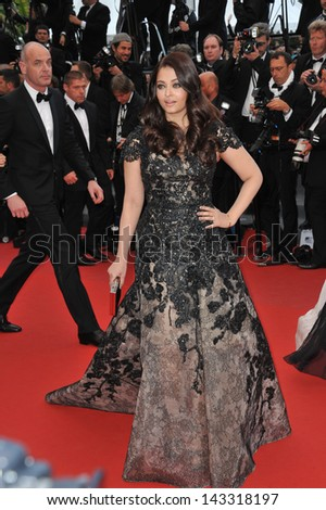 """CANNES, FRANCE - MAY 19, 2013: Aishwarya Rai at the gala screening for """"Inside Llewyn Davis"""" in competition at the 66th Festival de Cannes.  - stock photo"""