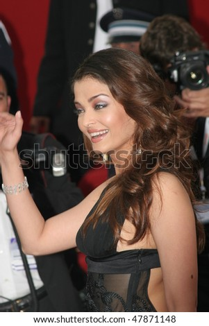 CANNES, FRANCE - MAY 11: Aishwarya Rai attends the 58th Cannes Film Festival Opening Ceremony and premiere of opening film 'Lemming'at the Grand Theatre Lumiere on May 11, 2005 in Cannes, France - stock photo
