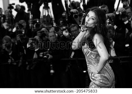 CANNES, FRANCE - MAY 20: Aishwarya Rai attends the 'Two Days, One Night' premiere at the 67th Cannes Film Festival on May 20, 2014 in Cannes, France. - stock photo