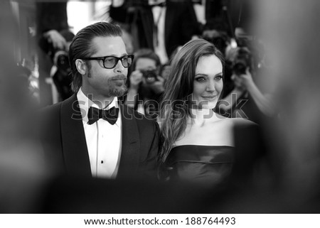 CANNES, FRANCE - MAY 16 : Angelina Jolie and Brad Pitt attend 'The Tree Of Life' Premiere during the 64th Cannes Film Festival on May 16, 2011 in Cannes - stock photo