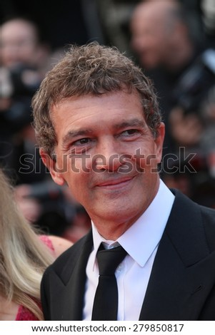 CANNES, FRANCE - MAY 19: Antonio Banderas   attends the 'Sicario' premiere during the 68th annual Cannes Film Festival on May 19, 2015 in Cannes, France - stock photo