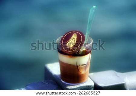 CANNES, FRANCE - MAY 17: Cannes drink at the 67th Annual Cannes Film Festival on May 17, 2014 in Cannes, France. - stock photo