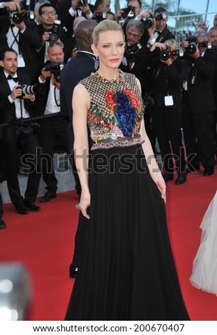 "CANNES, FRANCE - MAY 16, 2014: Cate Blanchett at the gala premiere of her movie ""How To Train Your Dragon 2"" at the 67th Festival de Cannes.  - stock photo"
