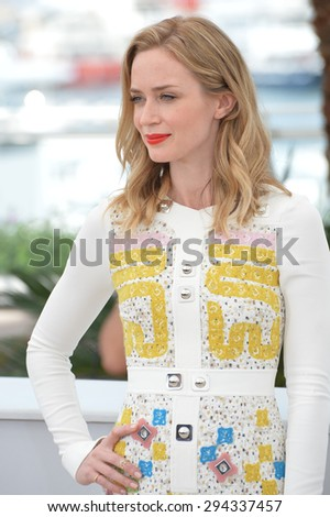 """CANNES, FRANCE - MAY 19, 2015: Emily Blunt at the photocall for her movie """"Sicario"""" at the 68th Festival de Cannes. - stock photo"""