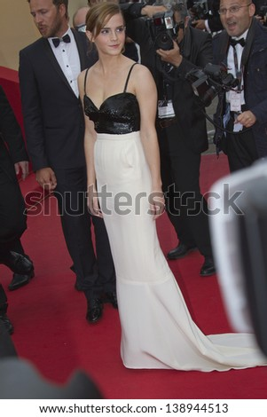 CANNES, FRANCE - MAY 16: Emma Watson attends the Premiere of 'Jeune & Jolie' (Young & Beautiful) at The 66th Annual Cannes Film Festival at Palais des Festivals on May 16, 2013 in Cannes, France. - stock photo