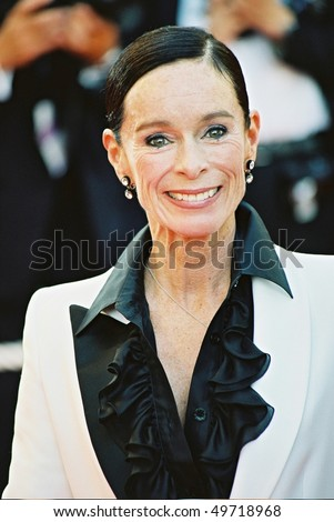 CANNES, FRANCE - MAY 26: Geraldine Chaplin arrives at the closing night ceremonies of the 55th Cannes Film Festival on May 26 2002. in Cannes, France. - stock photo
