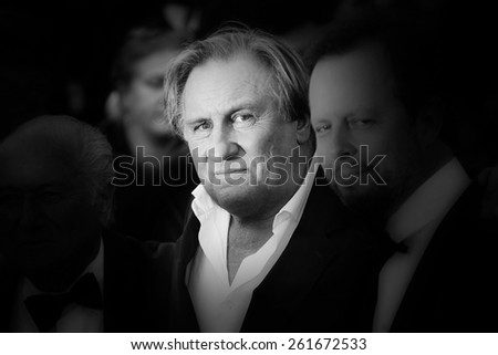 CANNES, FRANCE - MAY 18: Gerard Depardieu attends 'The Homesman' premiere during the 67th Annual Cannes Film Festival on May 18, 2014 in Cannes, France. - stock photo