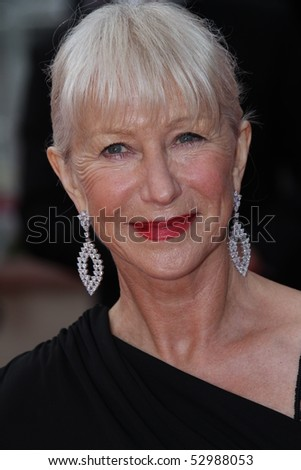 CANNES, FRANCE - MAY 12: Helen Mirren attend the 'Robin Hood' Premiere at the Palais des Festivals during the 63rd Cannes Film Festival on May 12, 2010 in Cannes, France - stock photo