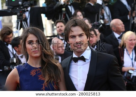 CANNES, FRANCE - MAY 20, 2015: Ian Sonerhalder and Nikki Reed attend the 'Youth' Premiere during the 68th annual Cannes Film Festival on May 20, 2015 in Cannes, France. - stock photo