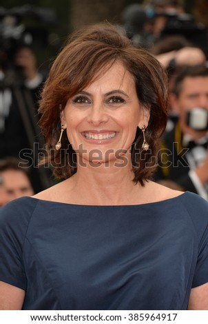 "CANNES, FRANCE - MAY 14, 2015: Ines de la Fressange at the gala premiere of ""Mad Max: Fury Road"" at the 68th Festival de Cannes. - stock photo"