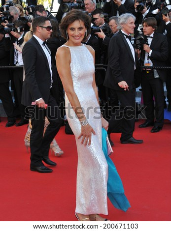 "CANNES, FRANCE - MAY 15, 2014: Ines de la Fressange at the premiere of ""Mr. Turner"" at the 67th Festival de Cannes.  - stock photo"