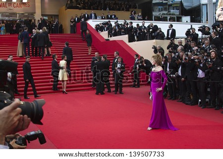 CANNES, FRANCE - MAY 19: Jane Fonda attends 'Inside Llewyn Davis' Premiere during the 66th Cannes Film Festival at Palais des Festivals on May 19, 2013 in Cannes, France. - stock photo