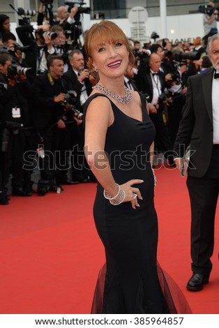 "CANNES, FRANCE - MAY 14, 2015: Jane Seymour at the gala premiere of ""Mad Max: Fury Road"" at the 68th Festival de Cannes. - stock photo"