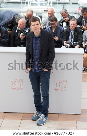 CANNES, FRANCE - MAY 11: Jesse Eisenberg attends the 'Cafe Society' Photocall during The 69th Annual Cannes Film Festival on May 11, 2016 in Cannes, France - stock photo