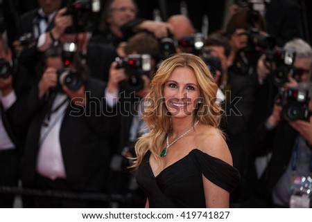 Cannes, France - 12 MAY 2016 - Julia Roberts attends the screening of 'Money Monster' at the annual 69th Cannes Film Festival - stock photo