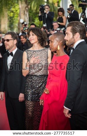 CANNES, FRANCE - MAY 13: Jury. Opening Ceremony 'La Tete Haute' Premiere. 68th Annual Cannes Film Festival at Palais des Festivals on May 12, 2015 in Cannes, France. - stock photo