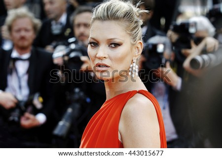 CANNES, FRANCE - MAY 16: Kate Moss attends the 'Loving' premiere during the 69th Cannes Film Festival on May 16, 2016 in Cannes, France. - stock photo