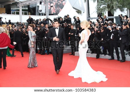 CANNES, FRANCE - MAY 21: Kelly Brook and Hofit Golan  attends the 'Vous N'avez Encore Rien Vu' premiere during the 65th  Cannes  Festival at Palais des Festivals on May 21, 2012 in Cannes, France - stock photo