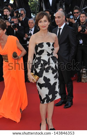 "CANNES, FRANCE - MAY 23, 2013: Kristin Scott Thomas at the premiere of ""The Immigrant"" at the 66th Festival de Cannes.  - stock photo"