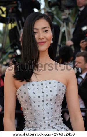 """CANNES, FRANCE - MAY 22, 2015: Liu Wen at the gala premiere of """"The Little Prince"""" the 68th Festival de Cannes. - stock photo"""